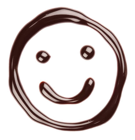 Chocolate smiling face on white background