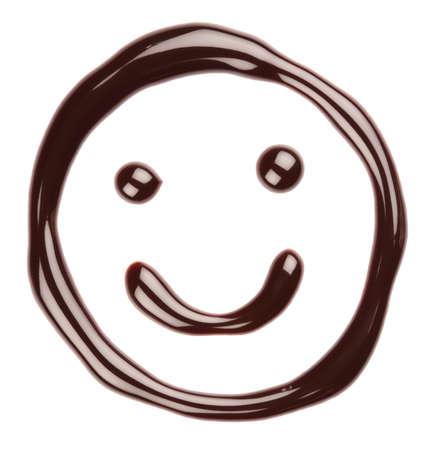 Chocolate smiling face on white background photo