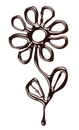 Chocolate flower on white background