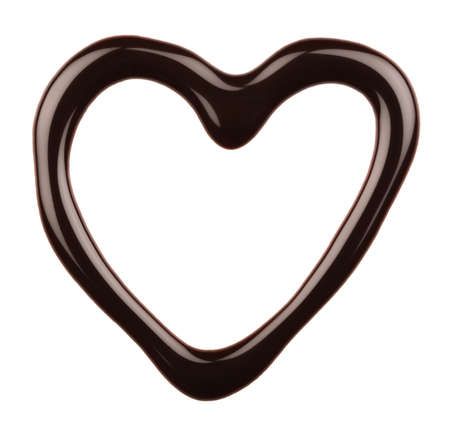 Chocolate heart isolated on white background photo
