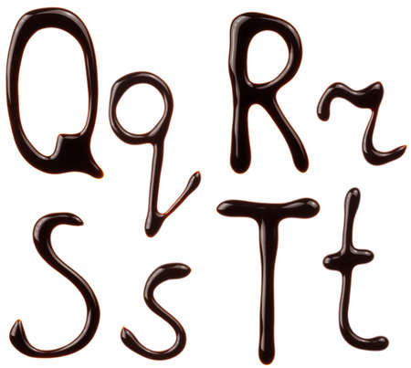 syrupy: Alphabet letters made from chocolate syrup are isolated on a white background Stock Photo