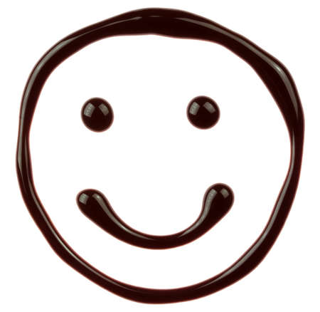 syrupy: Chocolate smiling face is isolated on a white background