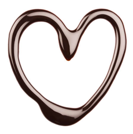 Chocolate heart on white background