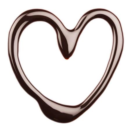 chocolate melt: Cuore di cioccolato su sfondo bianco