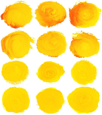 Set of yellow watercolor blobs are isolated on a white background  photo