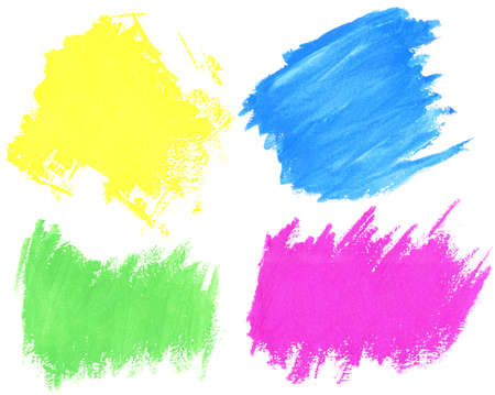 Colorful watercolor hand painted brush strokes are isolated on a white background
