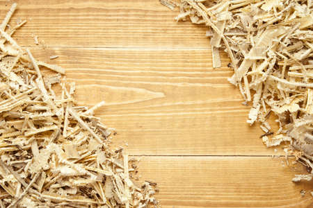 sawdust: Wooden sawdust and shavings background with space for text Stock Photo