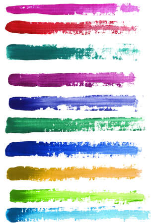 Colorful watercolor hand painted brush strokes. Isolated on white background. photo