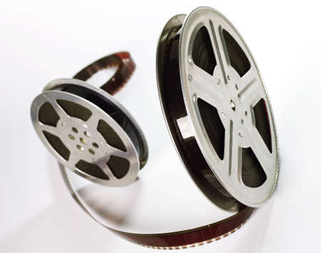 Old motion picture film reels photo