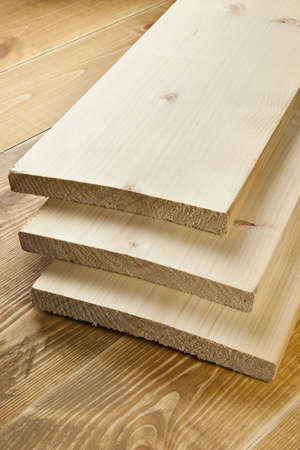 Wood planks are on a wooden board  Stock Photo