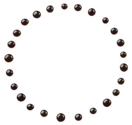The circle made of chocolate syrup  blobs are isolated on a a white background.