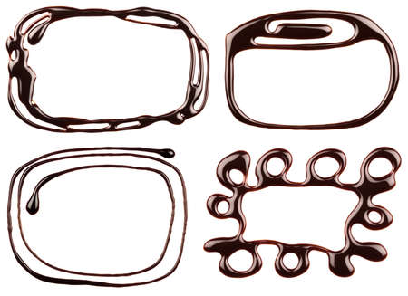 Set of chocolate syrup frames are isolated on a white background. photo