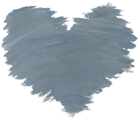 Grey watercolor heart is isolated on a white background. photo