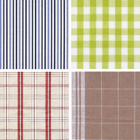 Set of different fabrics textures are on a white background. Stock Photo - 13718256