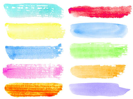 Colorful watercolor hand painted brush strokes  Isolated on white background  photo