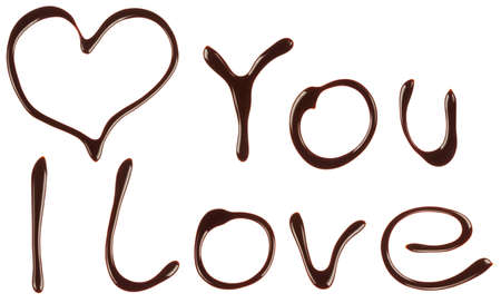 syrupy: I love you is written and paint in chocolate syrup