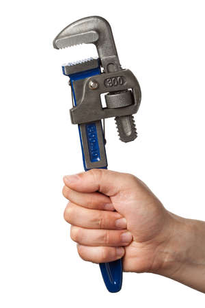 Hand with wrench. photo