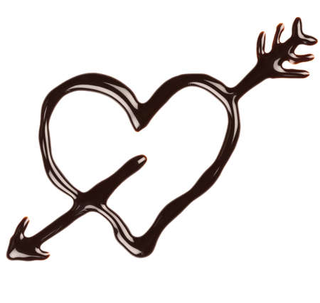 syrupy: Chocolate heart pierced by an arrow on white background