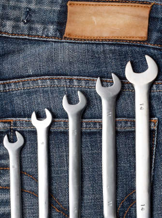 Wrenches on the jeans photo