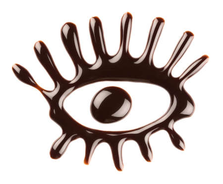 Chocolate eye on white background photo