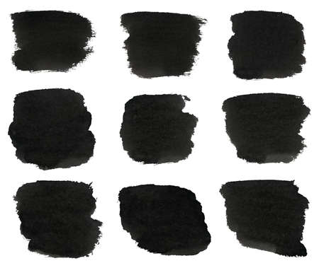 Set of black watercolor hand paint brush strokes are isolated on a white background  photo