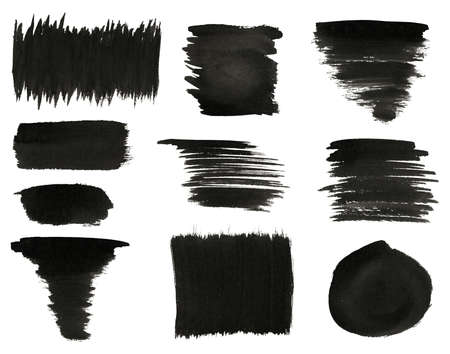 paint strokes: Set of various black watercolor hand paint brush strokes are isolated on a white background  Stock Photo
