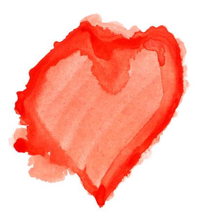 tempera: Watercolor splash red heart Stock Photo