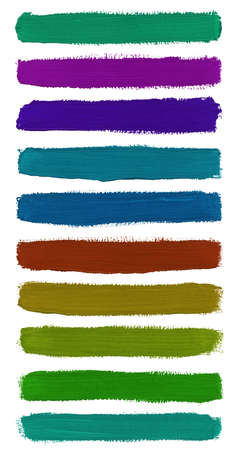 Colorful watercolor hand painted brush strokes is isolated on white background.  photo