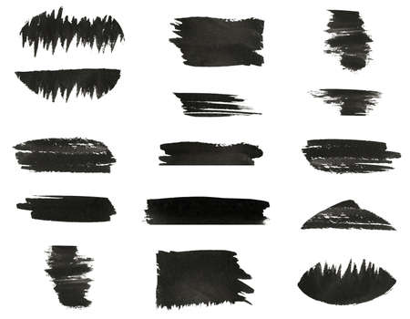 Set of various black watercolor hand paint brush strokes are isolated on a white background  Stock Photo - 16798882