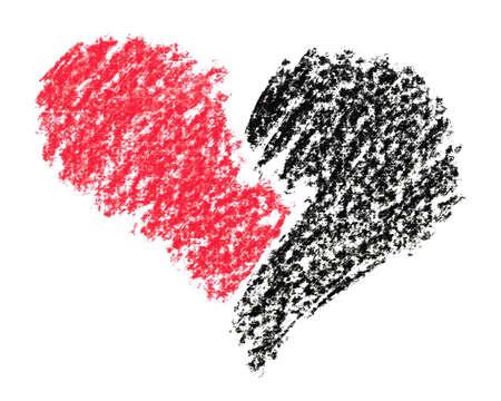 corazon roto: Broken heart pintado con l�pices de cray�n