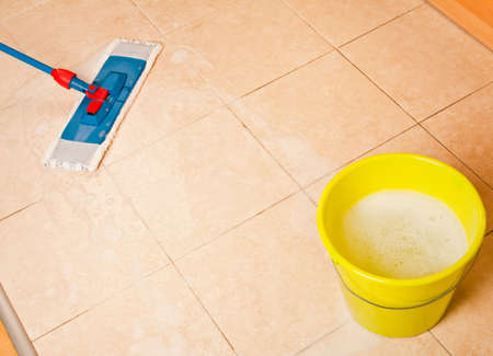 shiny floor: House cleaning with the mop