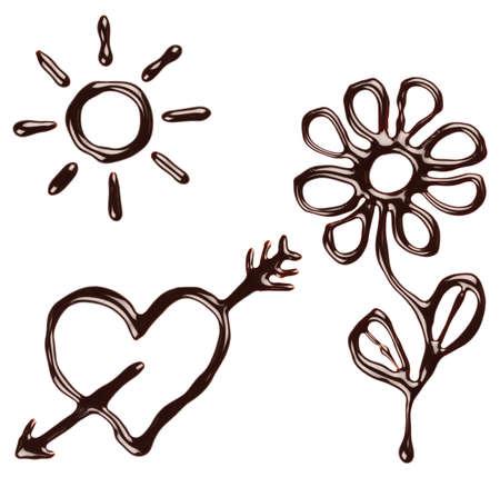 syrupy: Set of chocolate syrup symbols: sun, heart, flower, arrow. Summer, love background. Stock Photo