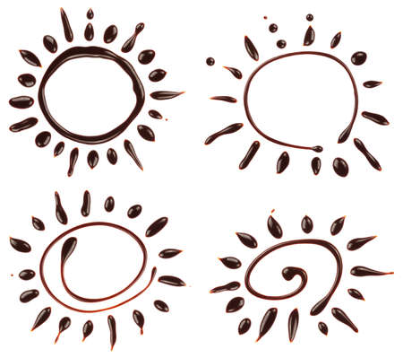 chocolate syrup: Set of chocolate syrup sun  Summer background