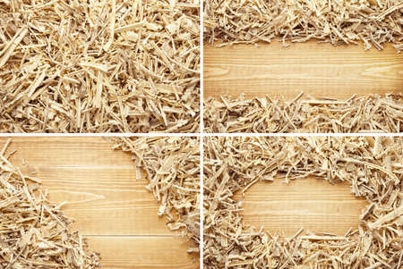 carpenter's sawdust: Wooden sawdust and shavings backgrounds with space for text Stock Photo