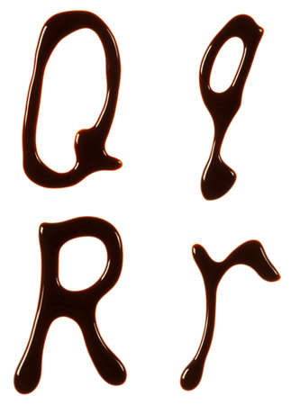 Alphabet letters made from chocolate syrup are isolated on a white background Stock fotó