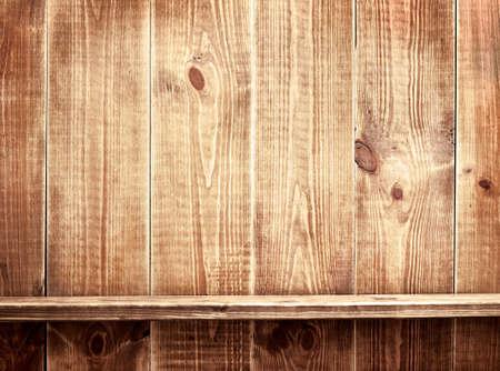 Empty shelf on wooden background  Wood texture  photo
