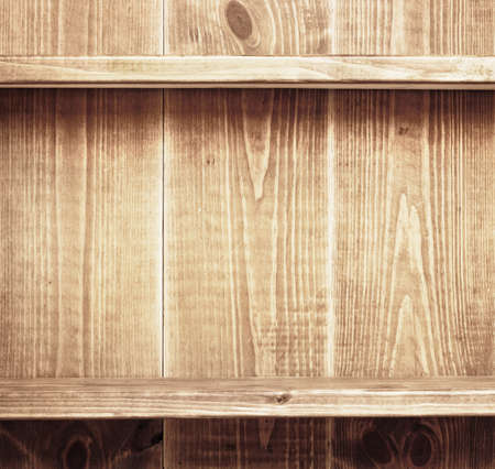 Empty shelf on wooden background. Wood texture. Stock Photo - 19931612