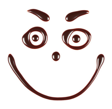 syrupy: Smiley face made of chocolate syrup is isolated on a white background
