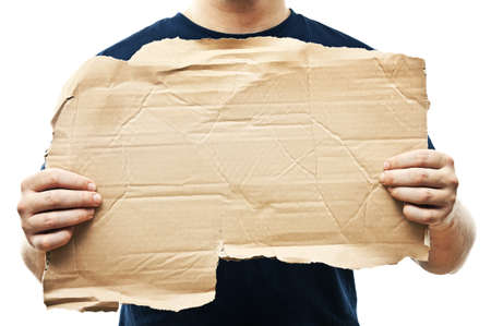 holding blank sign: man holding old crumpled paper
