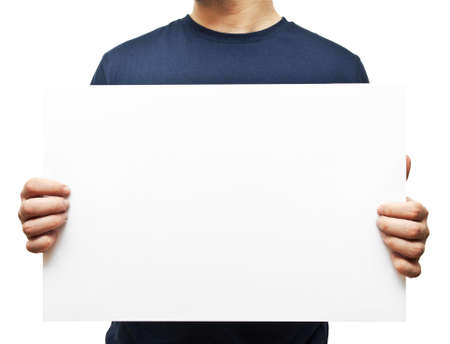 man holding white blank billboard Stock Photo