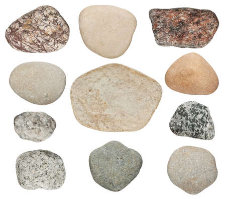 various color stones are isolated on a white background photo