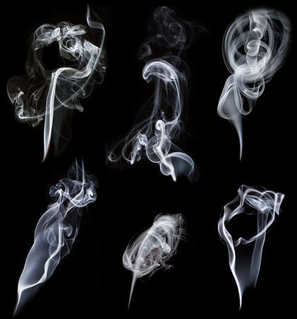 set of smokes on black background photo