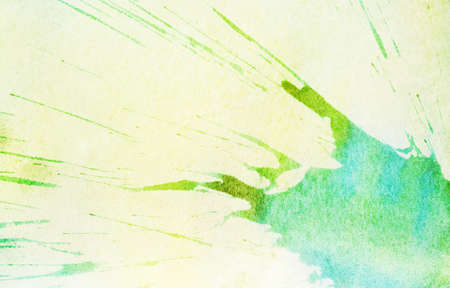 Abstract blue and green watercolor splach on yellow background photo