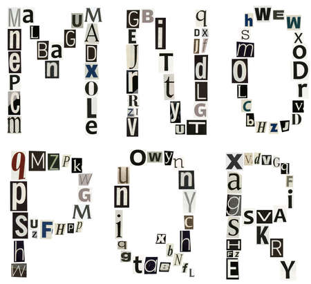 r p m: alphabet letters made of newspaper, magazine Stock Photo