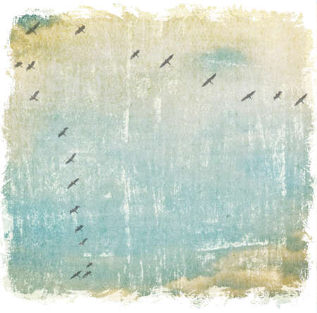 cranes birds flying in the sky, autumn background photo