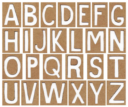 alphabet letters made from cardboard paper, school background photo