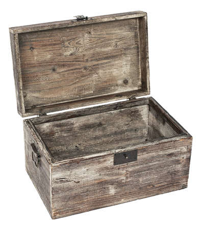 old wooden open chest is isolated on white photo