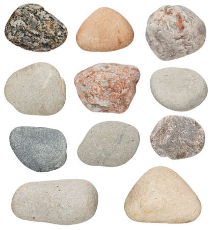 river rock: various color stones are isolated on a white background Stock Photo