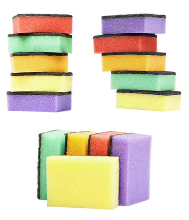set colorful kitchen sponges are isolated on a white photo
