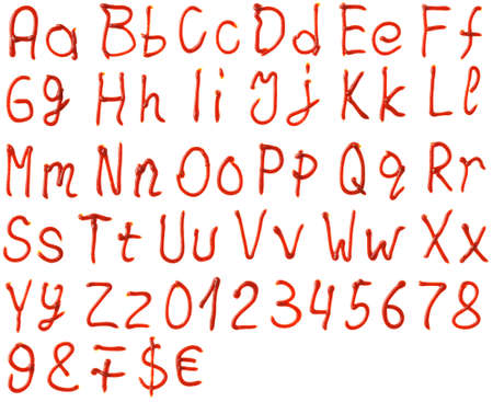 alphabet letters made from ketchup Standard-Bild